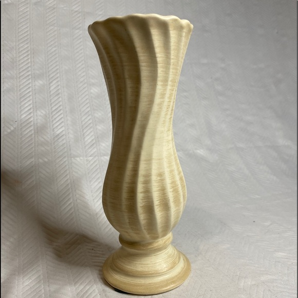 Vintage Haeger Gold Trim on Brown with Creme Swirl  MCM Small Bud Vase